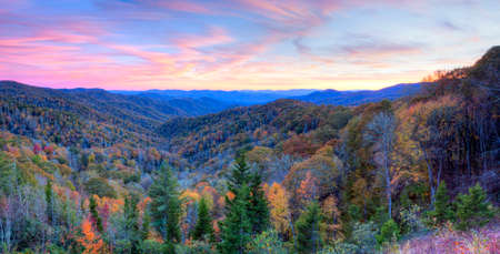 great smokies: Sunset at Blue Ridge Parkway, at autumn.