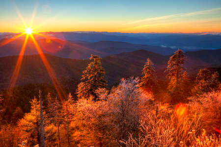 great smoky mountains national park: Sunrise over Smokies,with frost on trees.