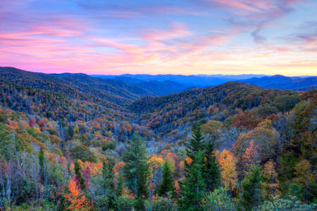 great smokies: Sunset at Blue Ridge Parkway, at autumn.