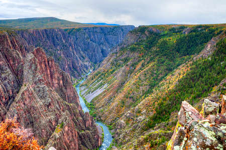 chasm: Black Canyon of the Gunnison National Park, in fall.