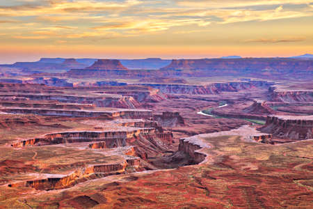 Sunset at Green River Overlook in Canyonlands National Park.