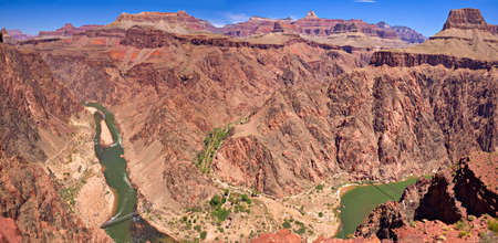 kaibab trail: Panorama of Colorado River in Grand Canyon.