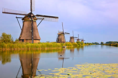 Beautiful dutch windmill landscape at Kinderdijk in the Netherlands