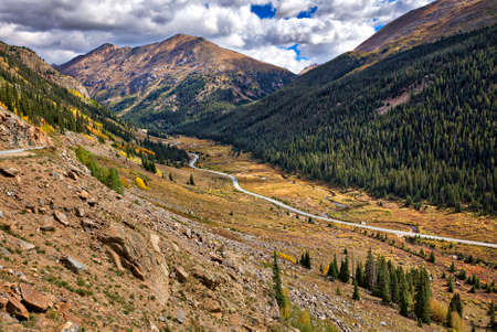 Weide langs Independence Pass Road, in de herfst. Colorado.