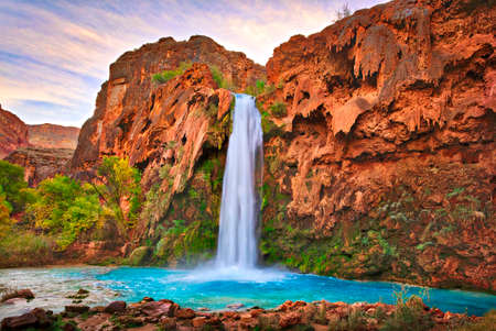 Havasu Falls at sunrise.