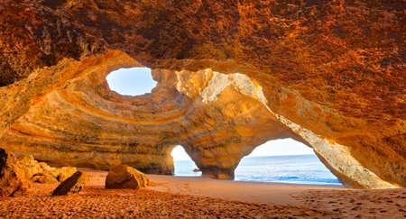 Benagil Cathedral at beautiful coast of Algarve, Portugal. Banco de Imagens