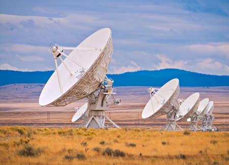 Radio antenna dishes, of VLA in New Mexico.