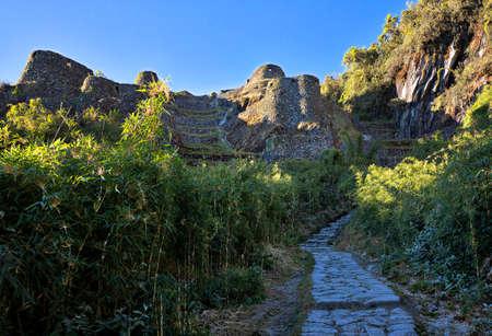 Inca Trail leading to Phuyupatamarka, Historical Inca Ruin, Peru Фото со стока