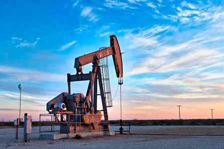 Pump jacks in an oil field.