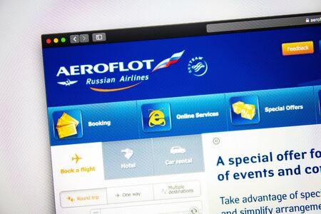 Washington, EE. UU. - 3 de abril de 2019: página de inicio del sitio web de Aeroflot. Cerca del logo de Aeroflot. Puede usarse tan bien como