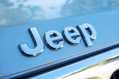 Tallinn / Estonia - June 23, 2020: Close up of Jeep logo on the SUV auto. Jeep is a brand of American automobiles, FCA US LLC