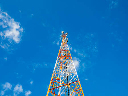 The tower of the mobile operator rushed into the blue sky. Forward to new technologies, 5th generation networks, the future is already near us!