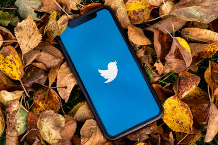 Tallinn / Estonia - September 28, 2020: Black iphone with logo of social media Twitter on the screen. Falled leaves background. Can be used as illustrative for marketing or business concept