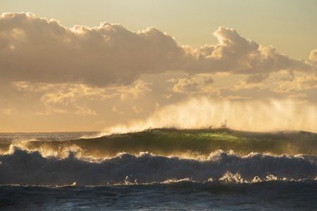 unrest: Sunrise seascape with unrest sea and green water and beautiful incoming backlit waves