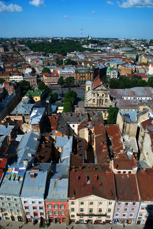 lvov: Lvov city view from height with buildings and people during the day Stock Photo