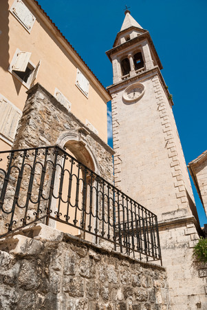 old town: White tower in Budva, Montenegro old town