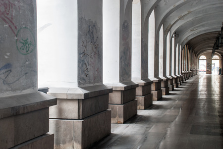 Geometry shapes made of passage and columns and light coming through Stock Photo