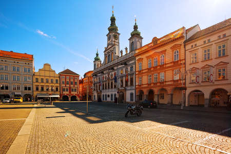 CESKE BUDEJOVICE, CZECH REPUBLIC - JULY 05, 2016: Central town square with town hall building and clock tower Editorial