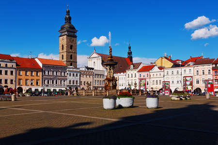 CESKE BUDEJOVICE, CZECH REPUBLIC - JULY 05, 2016: Central town square with Samson fighting the lion fountain sculpture and bell tower Editorial