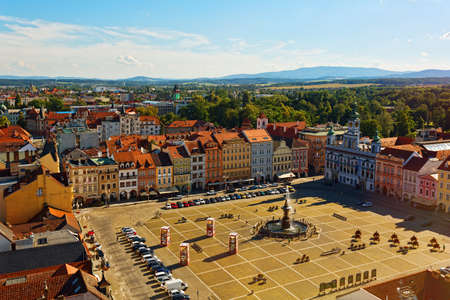 CESKE BUDEJOVICE, CZECH REPUBLIC - JULY 05, 2016: Central square of old town with town hall and fountain