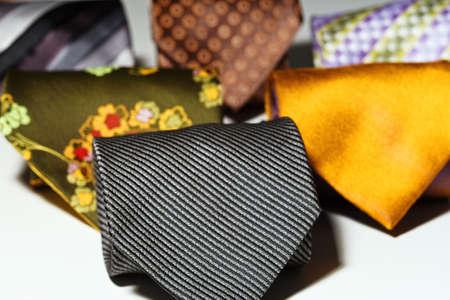 convolute: Few different styles vintage men ties convolute. Close-up capture. Stock Photo