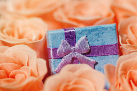 Tiny gift box with ribbon partly covered and surrounded by pink rose blossoms. Valentine day, engagement, birthday or other holiday romantic present idea. Extreme close-up capture, selective focus.