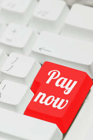Computer keyboard with a special payment key on a place of enter one, painted in red color. Online one touch payment idea, internet shopping concept. Vertical close-up capture, selective focus.