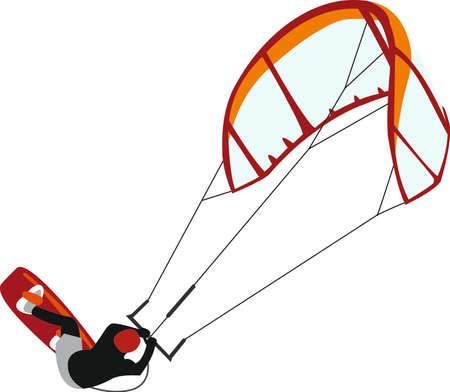 kite surfing: Kitesurfen vector