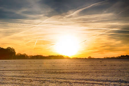 winter landscape with fog and frost during sunrise