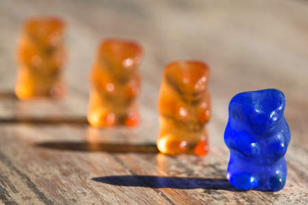 blue gummibear in a row