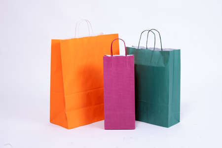 Paper shopping bags isolated on white background. Stock Photo - 32611980