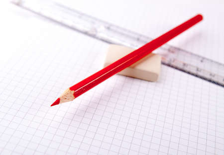 notebook paper background: Notebook paper background with pencil and eraser