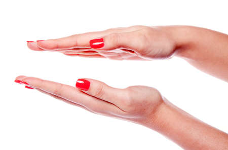 bringing: Two woman hands isolated on white background Stock Photo
