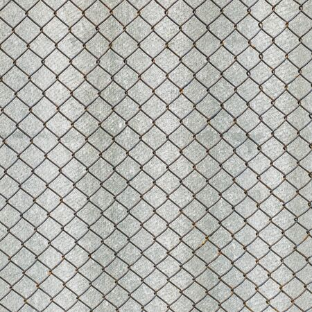 Rusry metal grid on the background of gray slate. Archivio Fotografico