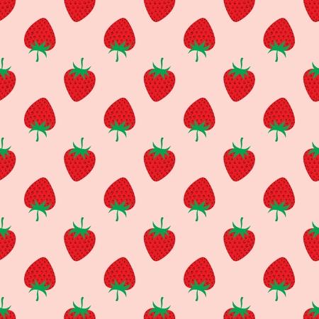 Strawberry on pink background. Seamless Pattern.