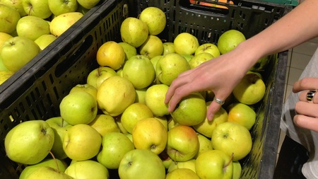Young woman choosing apples in a supermarket picked from organic farm.