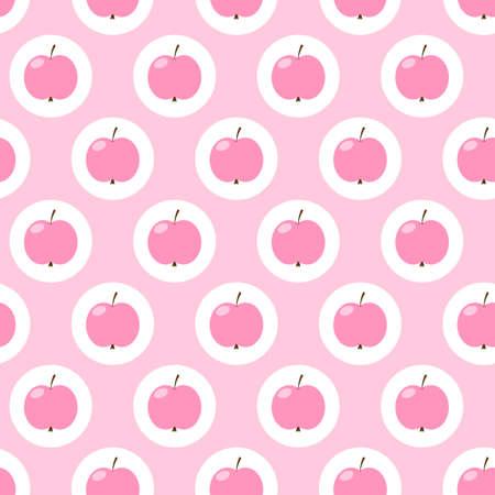 analogous: apples pink  seamless рattern  vector Illustration