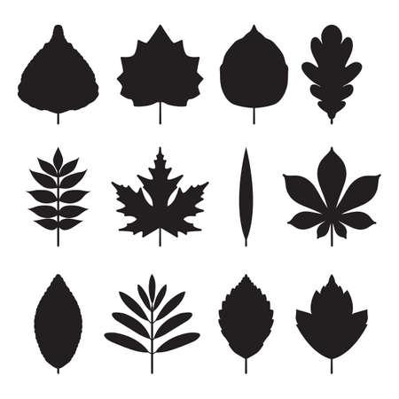 hojas de los árboles iconos Ilustración de vector