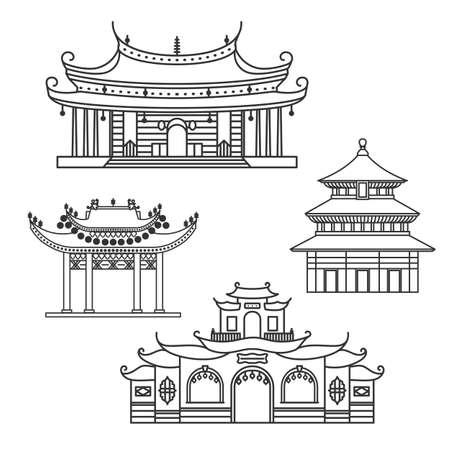 中国の家の輪郭を描かれたアイコン