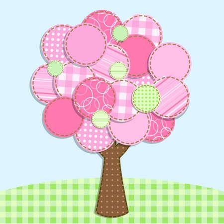 patchwork: pink patchwork tree