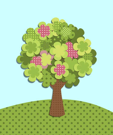 patchwork: patchwork green tree Illustration