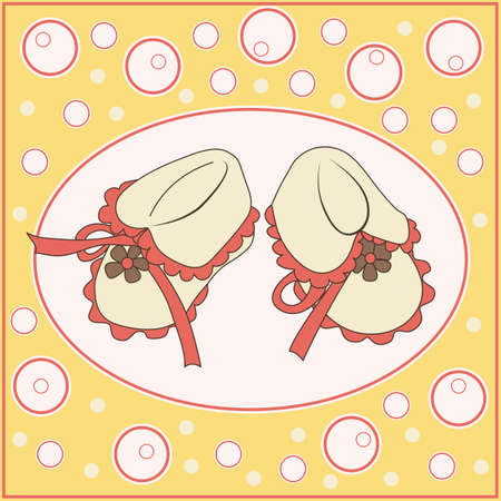 bootees: babys bootees card Illustration