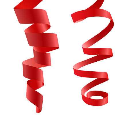 Two red tape. Frizz. Satin. Illustration