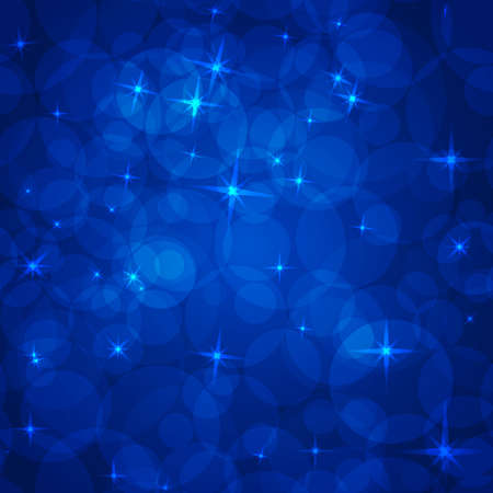blue circles: Stars and circles. Abstract blue background. Illustration