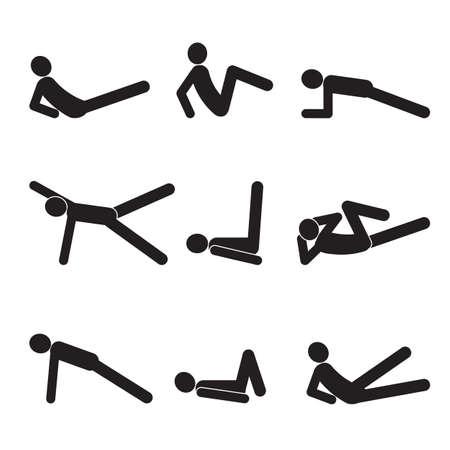 Los ejercicios para los abdominales. Silueta de un hombre. Iconos. Ilustración de vector