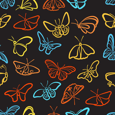 textile background: Seamless pattern of butterflies on a black background.