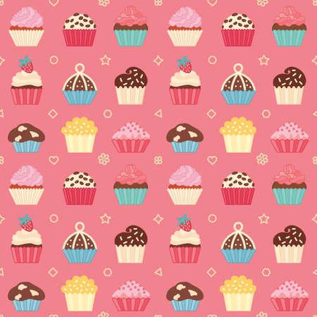 sleek: Seamless cupcake pattern. Sleek style.  Vector  illustration.