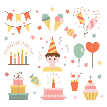 poppers: Set of birthday.  Flat  style.  Vector illustration.