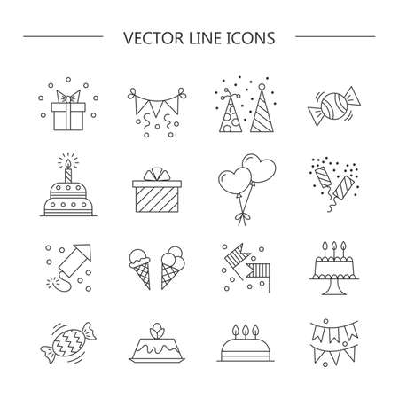 poppers: Set of linear icons.  Birthday.  Vector illustration.