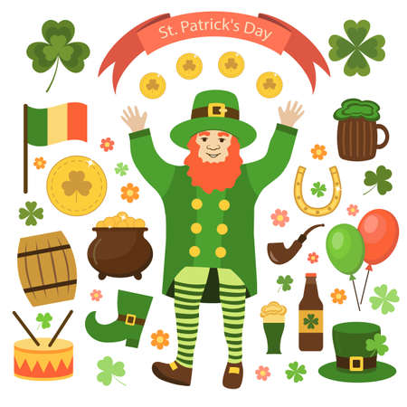 Elements of St. Patricks Day. Flat style. Vector illustration.